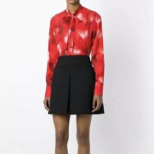 Valentino Silk Red Blouse Printed Hearts